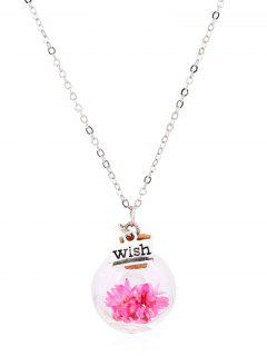 Flower Glass Bottle Pendant Necklace - Pink