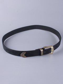 Trousers Wear Buckle Retro Belt - Black