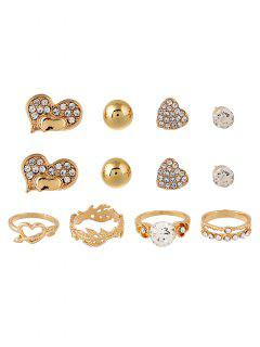 Rhinestone Floral Heart Rings And Earrings - Golden One-size