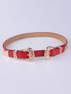 Trousers Wear Buckle Filigree Belt - Red