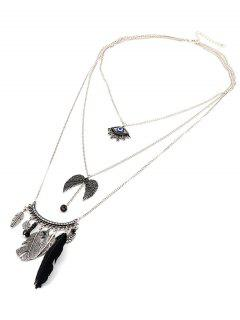 Devil Eye Wings Feather Beads Layered Necklace - Black