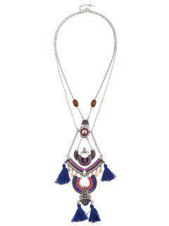 Bohemian Rhinestone Beaded Geometric Tassel Necklace - Sapphire Blue