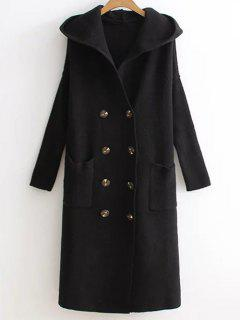 Hooded Double Breasted Sweater Coat - Black