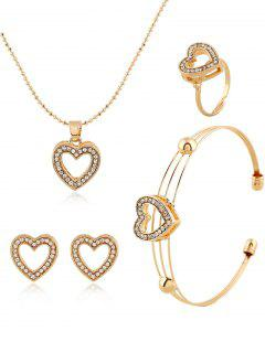 Rhinestoned Heart Necklace Earrings Ring And Bracelet - Golden