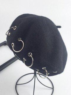 Warm Wool Circle Embellished Beret - Black