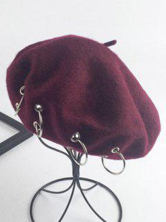 Warm Wool Circle Embellished Beret - Wine Red