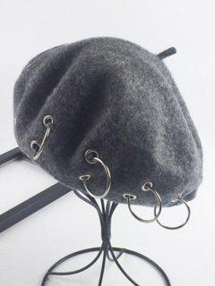 Warm Wool Circle Embellished Beret - Deep Gray