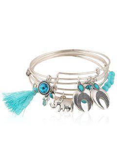 Faux Gem Tassel Elephant Charm Bracelet - Blue