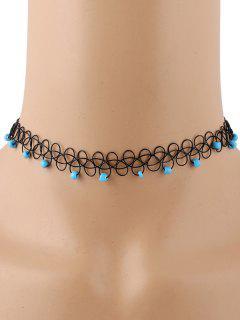 Vintage Beads Adorn Tattoo Choker - Blue