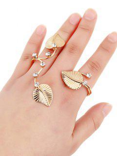 Rhinestone Leaves Ring - Golden One-size