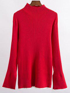 Contrast Trim High Collar Jumper - Red M