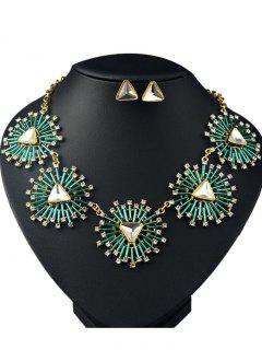 Artificial Gemstone Collier Et Boucles D'oreilles Triangle - Vert