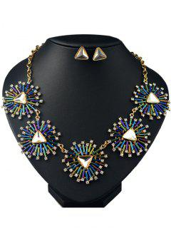 Artificial Gemstone Triangle Necklace And Earrings