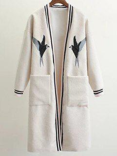 Collarless Bird Embroidered Coat - White M