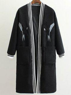 Collarless Bird Embroidered Coat - Black S