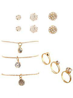 Rhinestone Embellished Necklaces Rings And Stud Earrings - Golden