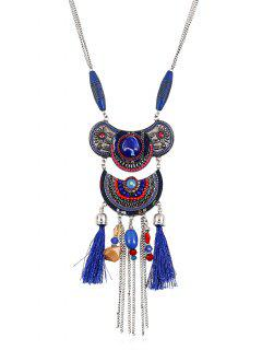Artificial Gemstone Tassel Chains Beads Necklace - Sapphire Blue