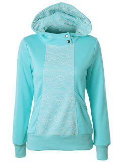 Lace Trimmed Pullover Hoodie - Lake Blue S