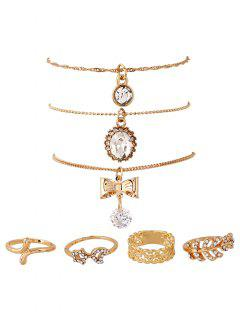 Rhinestone Bows Pendant Necklaces And Rings - Golden