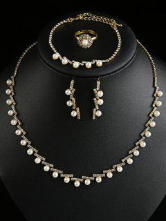Artificial Pearl Rhinestone Wedding Jewelry Set - Golden