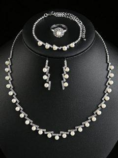 Artificial Pearl Rhinestone Wedding Jewelry Set - Silver