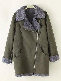 Zip-Up Faux Suede Coat - Army Green 2xl