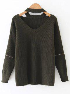 Zipped Sleeve Choker Jumper - Army Green