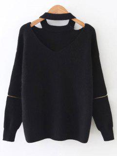 Zipped Sleeve Choker Jumper - Black