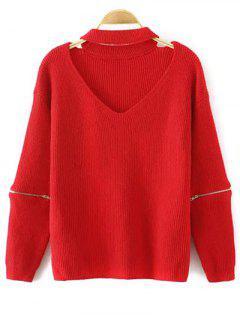 Kerbe V-Ausschnitt Pullover Mit Halsband - Rot