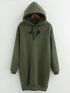 Drawstring Fleeced Hoodie - Army Green