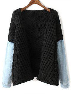 Cable Knit Denim Panel Cardigan - Black