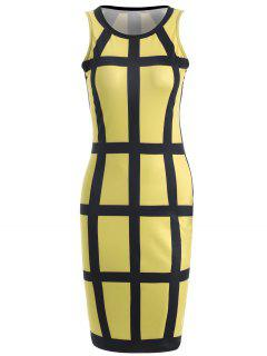 Checked Pencil Dress - Yellow S
