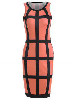 Checked Pencil Dress - Black And Orange M