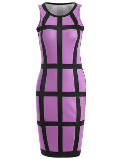 Checked Pencil Dress - Purple S