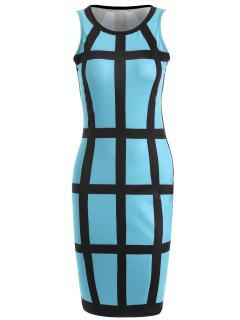 Checked Pencil Dress - Azure S