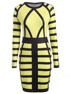Check Print Long Sleeve Bodycon Dress - Yellow L