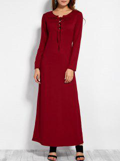 Lace Up Long Sleeve Maxi Dress - Red L