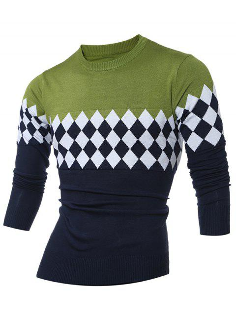ladies Diamond Pattern Color Matching Crew Neck Sweater - GREEN L Mobile