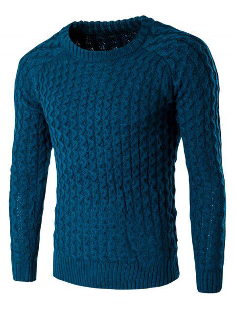 women's Textured Crew Neck Slim Fit Pullover Sweater - LAKE BLUE L Mobile