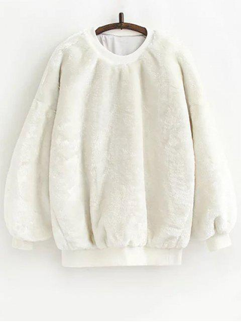 new Faux Fur Sherpa Sweatshirt - WHITE ONE SIZE Mobile