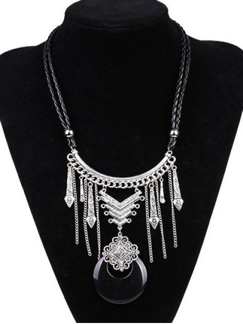 Luna de imitación de cuero grabada collar de la trenza - Plateado+Negro  Mobile