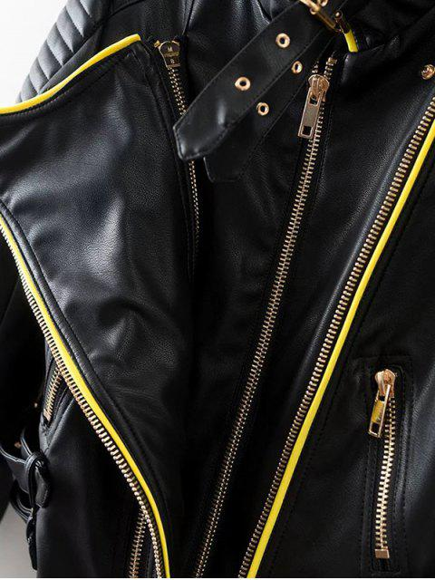 fashion Zip and Buckle Design Faux Leather Jacket - BLACK S Mobile