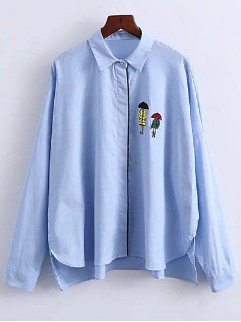 affordable Patched Oversized Shirt - BLUE S Mobile