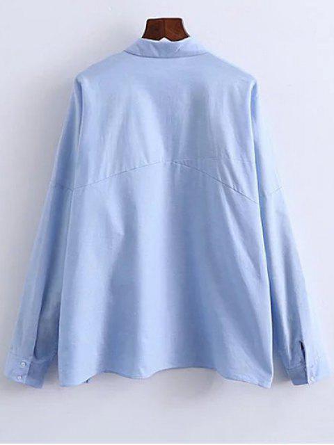 unique Patched Oversized Shirt - BLUE L Mobile