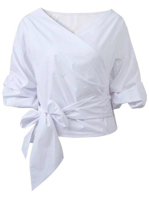 lady Wrap Front Puffed Sleeve Blouse - WHITE S Mobile