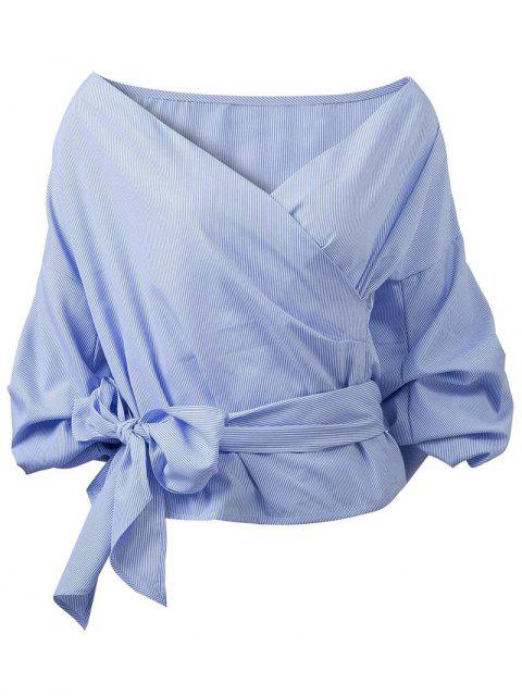 best Wrap Front Puffed Sleeve Blouse - BLUE L Mobile