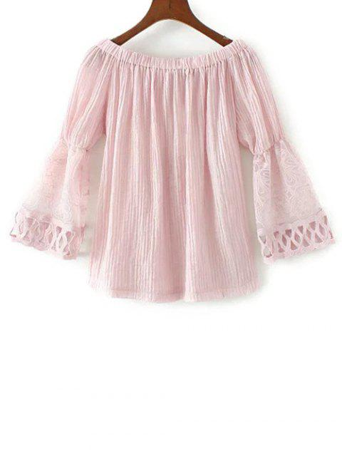 latest Lace Spliced Off The Shoulder Blouse - PINK S Mobile