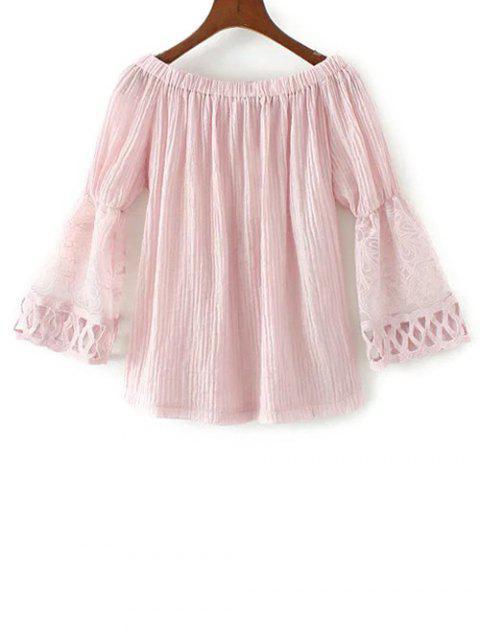 shop Lace Spliced Off The Shoulder Blouse - PINK L Mobile