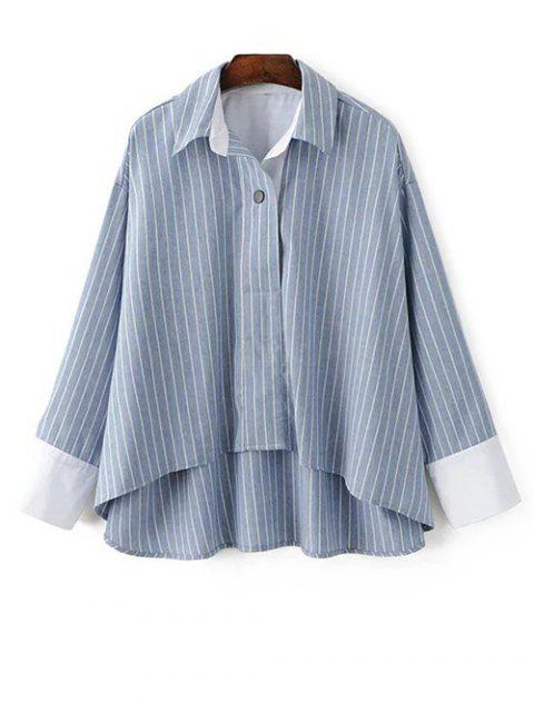 trendy Striped High-Low Blouse - LIGHT BLUE L Mobile