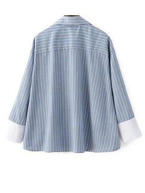 chic Striped High-Low Blouse - LIGHT BLUE S Mobile